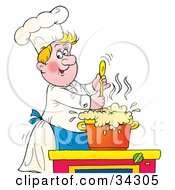 Clipart Illustration Of A Jolly Blond Male Chef Stirring A Pot Of Foaming Soup by Alex Bannykh
