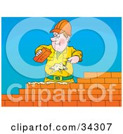 Clipart Illustration Of A Friendly Male Caucasian Brick Layer Using A Trowel To Spread Mortar While Laying A Brick Wall by Alex Bannykh