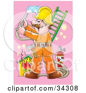 Clipart Illustration Of A Fireman With An Ax On His Belt Holding Up A Hose And Preparing To Extinguish A House Fire by Alex Bannykh