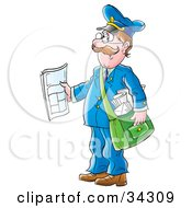 Clipart Illustration Of A Friendly Caucasian Mailman Holding Out A Newspaper While Delivering Post