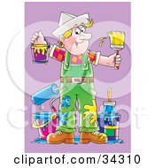 Clipart Illustration Of A Messy Blond Caucasian Male Painter With Blue And Yellow Paint Splatters On His Overalls Holding A Bucket And Paintbrush by Alex Bannykh