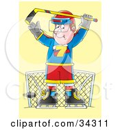 Clipart Illustration Of A Male Hockey Goalie Preparing To Block A Puck