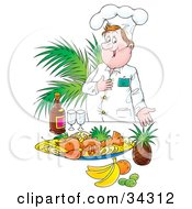 Clipart Illustration Of A Proud Male Chef Presenting His Diners With A Lobster Meal With Fruit And Champagne by Alex Bannykh
