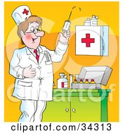 Clipart Illustration Of A Smiling Male Caucasian Doctor Testing A Syringe While Preparing To Give Vaccines by Alex Bannykh
