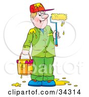 Clipart Illustration Of A Friendly Male Painter Dressed In Green Holding A Dripping Paint Bucket And Holding A Paint Roller With Yellow Paint by Alex Bannykh