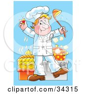 Clipart Illustration Of A Happy Blond Male Chef Dancing In A Kitchen With A Pepper Shaker And A Soup Ladle by Alex Bannykh