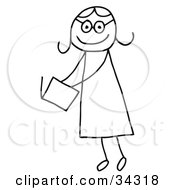 Clipart Illustration Of A Stick Person Girl Reading A Book by C Charley-Franzwa #COLLC34318-0078