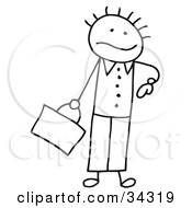 Clipart Illustration Of A Late Stick Person Businessman Glancing At His Watch