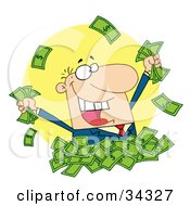 Clipart Illustration Of A Happy Caucasian Man In A Pile Of Cash Holding And Throwing Money
