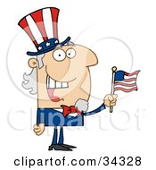 Poster, Art Print Of Energetic Uncle Sam Smiling And Waving A Flag