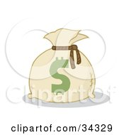 Clipart Illustration Of A Dollar Sign On A Money Bag by Hit Toon