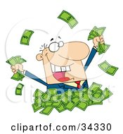 Clipart Illustration Of A Happy Caucasian Businessman Playing In A Pile Of Money