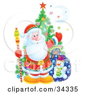 Clipart Illustration Of Santa Claus Holding A Staff And Standing In Front Of A Christmas Tree Toy Sack Colorful Stars And A Crescent Moon