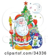 Clipart Illustration Of Kris Kringle Posed With A Christmas Tree Toy Sack Colorful Stars And A Crescent Moon