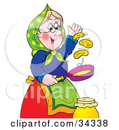 Blond Granny Flipping Hot Pancakes In A Pan