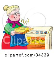 Clipart Illustration Of A Sweet Blond Granny Taking Hot Rolls Out Of An Oven by Alex Bannykh