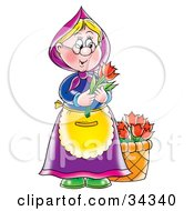 Sweet Blond Granny With A Bucket Of Flowers Holding Two Red Tulips
