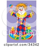 Clipart Illustration Of A Cute Circus Clown Juggling A Ball And Magic Wand by Alex Bannykh
