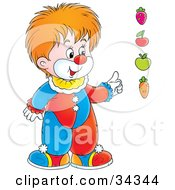 Clipart Illustration Of An Adorable Red Haired Clown Pointing To A Strawberry Cherry Apple And Carrot