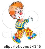 Clipart Illustration Of An Adorable Red Haired Circus Clown Walking Funny