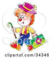 Clipart Illustration Of An Adorable Red Haired Clown In A Hat Carrying A Cane And Floral Briefcase by Alex Bannykh