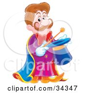 Clipart Illustration Of A Handsome Magician With A Mustache Holding A Magic Wand Over A Hat