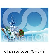 Clipart Illustration Of A Snowman Carrying A Broom And Pulling Gifts On A Sled Over An Icy Hill On A Snowy Blue Night