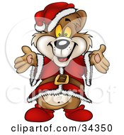 Clipart Illustration Of A Cute Christmas Bear In A Santa Suit And Hat Holding His Arms Out For A Hug
