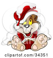 Clipart Illustration Of A Cute Christmas Bear In A Santa Suit And Hat Smiling After Being Crunched Under Snow