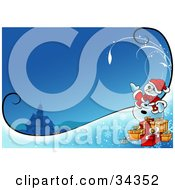 Clipart Illustration Of A Friendly Snowman In A Santa Suit Standing By Christmas Presents And Waving Near A Church At Night Time