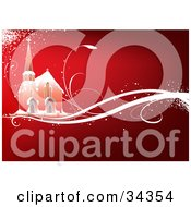 Clipart Illustration Of A Church In The Snow On A Magical Sparkling White Vine Over A Gradient Red Background