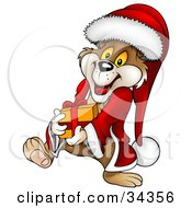 Cute Christmas Bear In A Santa Suit And Hat Waddling And Carrying A Present