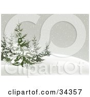 Clipart Illustration Of Snow Falling On And Around A Cluster Of Evergreen Trees On A Hill In The Winter