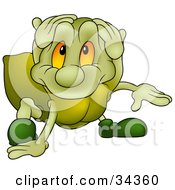 Clipart Illustration Of A Cute Green Spider With Big Orange Eyes Looking Up At The Viewer
