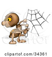 Clipart Illustration Of A Cute Brown Spider Looking Back Over His Shoulder While Building A Web