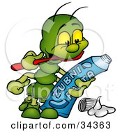 Clipart Illustration Of A Cute Green Caterpillar Reading The Information On The Back Of A Toothpaste Tube While Brushing His Teeth