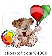 Cute Bear Cub With A Toy Ball Leaning Back And Holding Onto Party Balloons