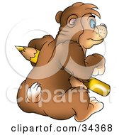 Clipart Illustration Of A Blue Eyed Bear Holding And Leaning Against A Large Yellow Colored Pencil