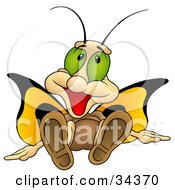 Cute Butterfly Character With Big Green Eyes And Yellow Wings Sitting Down And Smiling