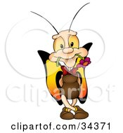 Romantic Male Butterfly Character With Big Yellow Eyes And Wings Standing And Holding A Flower In His Mouth