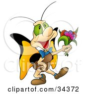 Clipart Illustration Of A Sweet And Cute Butterfly Character With Big Green Eyes And Yellow Wings Carrying A Bouquet Of Flowers For His Loved One by dero