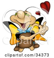 Clipart Illustration Of An Infatuated Cute Butterfly Character With Green Eyes And Yellow Wings Kneeling And Pretending To Embrace Someone With A Red Heart by dero