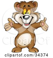 Clipart Illustration Of A Friendly Brown Bear Holding His Hands Out And Greeting The Viewer