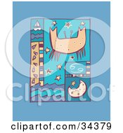 Clipart Illustration Of A Scene Of Cancer With A Crab Over Stars With The Moon Waves And A Sailboat by Lisa Arts