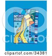 Clipart Illustration Of A Scene Of Aquarius With Water Pouring From A Pitcher With Stars by Lisa Arts