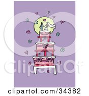 Clipart Illustration Of A Loving Couple Holding Hands On Top Of A Wedding Cake Surrounded By Hearts