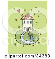 Clipart Illustration Of A Person Carrying A Potted Flower To A Home Surrounded By Hearts