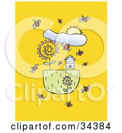 Clipart Illustration Of A Spring Sun Shining Down On Bees Flying Around Flowers And A Bee House by Lisa Arts