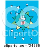 Clipart Illustration Of A Bird Flying In Front Of A Blue Sun Carrying A Love Letter In A Sky Of Hearts