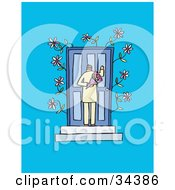 Clipart Illustration Of A Sweet Man Knocking On A Blue Door And Holding Flowers Behind His Back